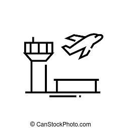 áttekintés, egyenes, vektor, aláír, ábra, lineáris, jelkép., fogalom, ikon, repülőtér