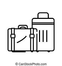 áttekintés, egyenes, vektor, aláír, ábra, nagy, bőrönd, lineáris, jelkép., fogalom, ikon