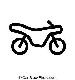 áttekintés, elszigetelt, ikon, fehér, motorkerékpár, háttér