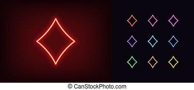 áttekintés, gyémánt, káró, izzó, árnykép, kártya, jelkép, neon, illeszt, aláír, icon.