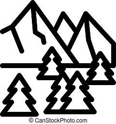 áttekintés, hegy, ikon, természet, erdő, vektor, havas, ábra