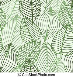 áttekintés, motívum, zöld, seamless, zöld foliage
