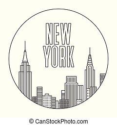 áttekintés, város, ábra, vektor, york, új