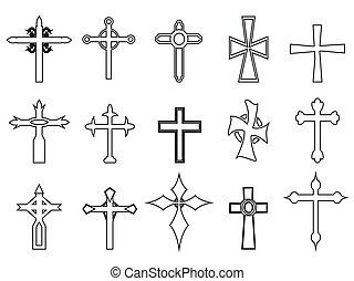 áttekintés, vallásos, kereszt, ikonok
