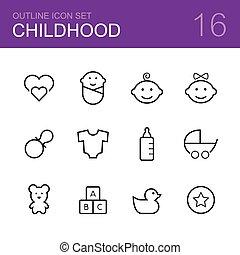 áttekintés, vektor, állhatatos, gyermekkor, ikon