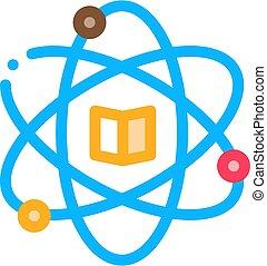 áttekintés, vektor, ikon, tanul, kémia, ábra, atom