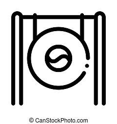 áttekintés, vektor, korea, ábra, déli, gong, ikon