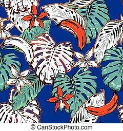 áttekintés, zöld, motívum, kéz, pálma, elektromos blue, húzott, seamless, háttér., tropikus