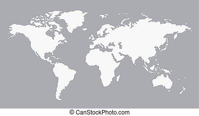 áttetsző, contine, fehér, állhatatos, szürke, világ, háttér, térkép
