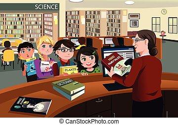 átvizsgálás, gyerekek, előjegyez, könyvtár, ki