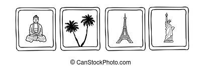 ázsiai, jelkép, destination., szünidő, utazó, meglátogat, york, párizs, új, tengerpart