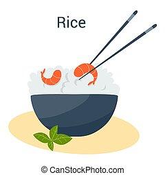 ázsiai, shrimp., tál, tál, étkezés, rizs, vegetáriánus, táplálék., gabona, kínai