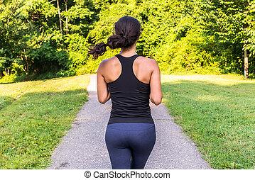 ázsiai, sport, szabadban, futás, nő