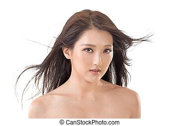 ázsiai, szépség, arc