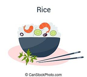 ázsiai, vegetable., garnélarák, tál, tál, rizs, kínai, táplálék., gabona