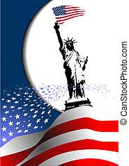 –, egyesült, image., sas, amerikai, 4, egyesült államok, lobogó, vektor, america., július, nap, szabadság