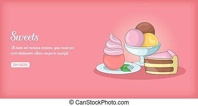 édesség, mód, transzparens, karikatúra, horizontális