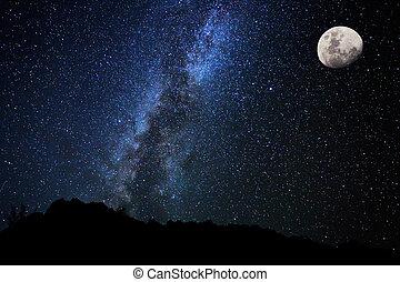 ég, éjszaka, irány, csillaggal díszít, szelíd, galaktika