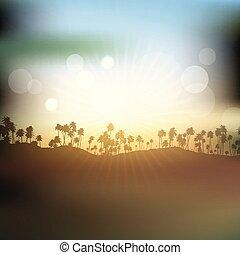 ég, bitófák, körvonal, pálma, ellen, napnyugta