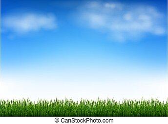 ég, elhomályosul, zöld blue, fű