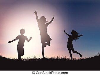 ég, ellen, gyerekek, körvonal, napnyugta, játék