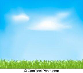 ég, eredet, elvont, elhomályosul, grass., vektor, zöld háttér, tervezés, -e, sablon