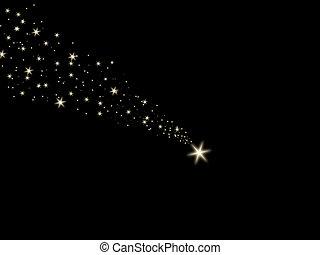 ég, esés, éjszaka, csillag, fekete
