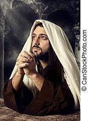 ég, feláll, jézus, látszó, sír, időz, imádkozás, ő