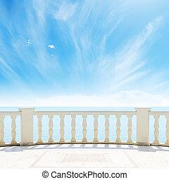 ég, felhős, tenger, alatt, erkély, kilátás
