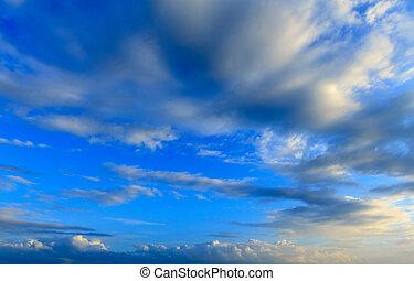 ég, háttér, kék, hajnalodik