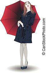 ég, leány, esernyő, lát, piros
