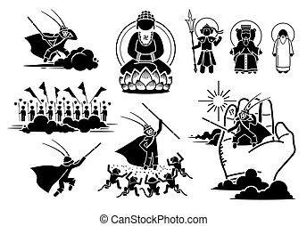 ég, nyugat, icons., utazás, felelősségre von, küzdelem, wukong, nap