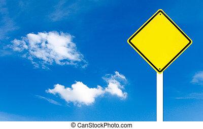 ég, sárga cégtábla, háttér, tiszta, út