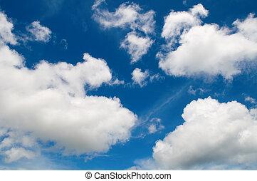 ég, szeret, felhős, gyapot