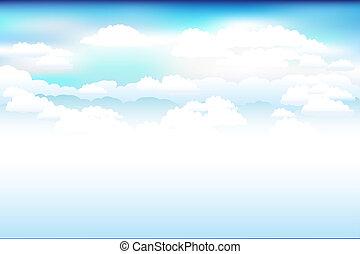 ég, vektor, elhomályosul, kék