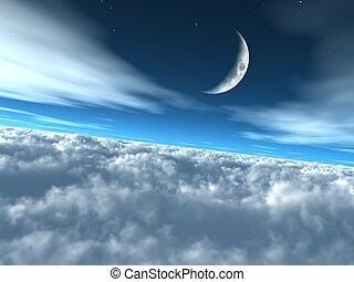 égi, ég, elhomályosul, hold-, felül