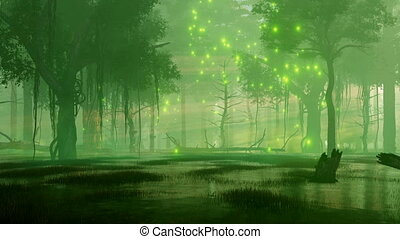 éjszaka, állati tüdő, szentjánosbogár, 4k, erdő, varázslatos, eláraszt