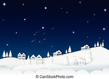 éjszaka, épület, ég, háttér, üstökös, hegy, természet, csillag