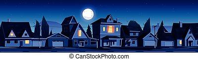 éjszaka, épület, körzet, utca, külváros