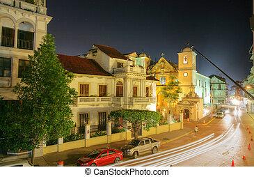 éjszaka, casco, város, panama viejo
