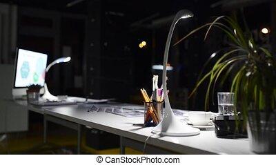 éjszaka, computer., hivatal asztal