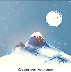 éjszaka, hó, kék, moon., nagy ég, tél, csillaggal díszít, hegy