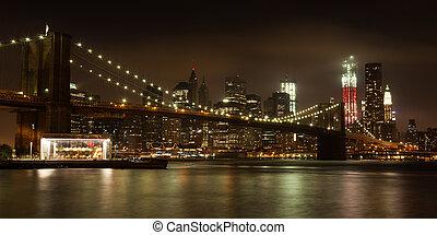 éjszaka, kilátás, -, panoranic, usa, brooklyn, manhattan bridzs, láthatár, liget