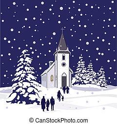 éjszaka, tél, templom