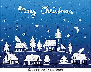 éjszaka, templom, karácsony, falu