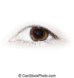 ékezetez, eps, halftone, emberi, 8, eye.