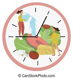 élénkítő, water., tárcsa, táplálék., élelmiszer, vektor, leány, ablak, vesztes, menstruáció, concept., illustration., osztott, egészséges, módszer, metabolism., megszakított, rögzítés, súly