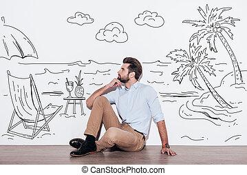 élelmezés, emelet, vacation., el, ülés, fiatal, ábra, kéz, látszó, erőforrás, időz, áll, háttér, vágyálom mindenfelé, ember, jelentékeny