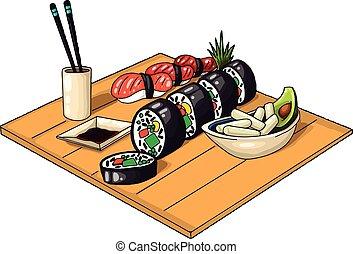élelmiszer, ábra, fehér, kínai, vektor, háttér., jó, ünnep