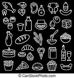 élelmiszer, állhatatos, áttekintés, ikonok